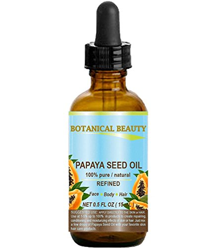 """Botanical Beauty PAPAYA SEED OIL. 100% Pure / Natural / Undiluted /Refined Cold Pressed Carrier Oil. 0.5 Fl.oz.- 15 ml. For Skin, Hair And Lip Care. """"One Of The Richest Natural Sources Of Vitamin A & C And A Remarkable Stable Source Of Omega 6 & 9 And Natural Fruit Enzymes- Papain."""""""
