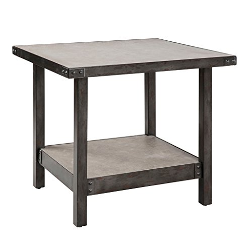 Ink+Ivy Cody Pewter End Table – Plywood and Concrete Table Top – Metal Frame Table – Edgy Home Décor – Lower Shelf Storage
