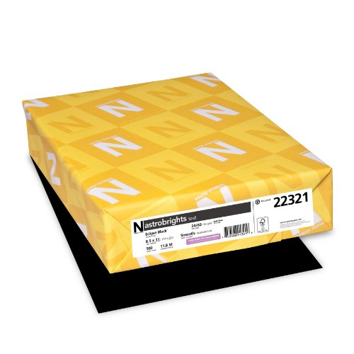 Neenah Astrobrights Premium Color Paper, 24 lb, 8.5 x 11 Inches, 500 Sheets, Eclipse Black (WAU22321) ()