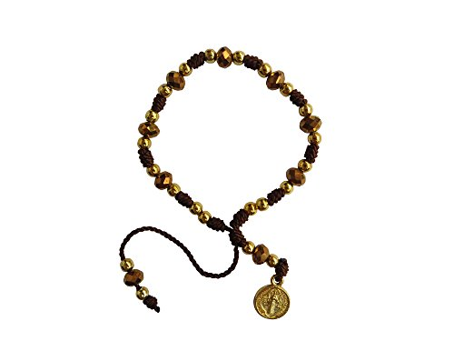 Brown Thread with Cristal Beads Saint Benedict Bracelet Pulsera De San Benito