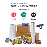 18'' x 4375 ft. Heat Shrink Film Wrap Strong Centerfold Polyolefin 60 Gauge Cross-Linked Heat Activated Shrink Wrap, 1 Roll