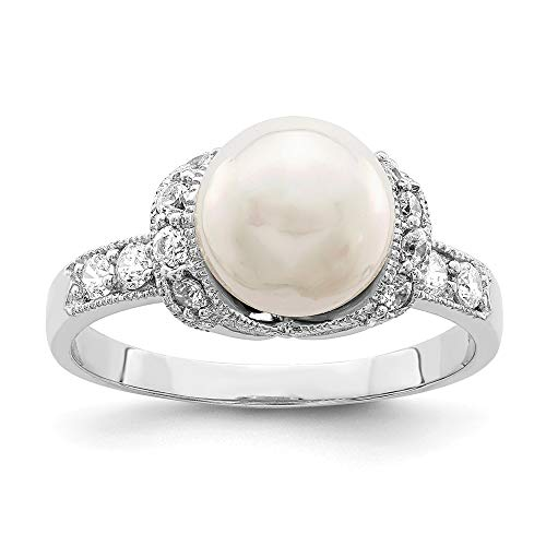 - 925 Sterling Silver Simulated Pearl Cubic Zirconia Cz Band Ring Size 7.00 Fine Jewelry Gifts For Women For Her