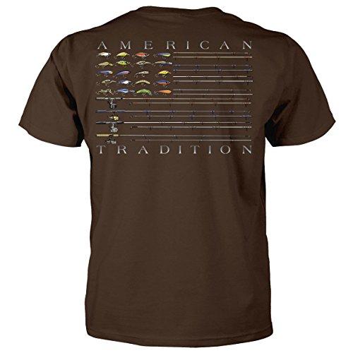 Superb Selection Bass Flag Fishing Poles American Tradition T-Shirt-Chocolate-Small