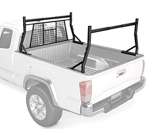 AA-Racks Model X35-W 800 LB Capactiy Extendable Pick-up Truck Rack with Protective Screen Set (Black) ()