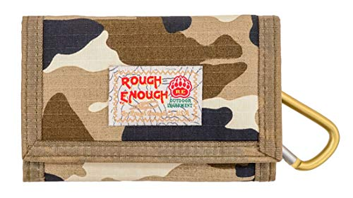 - Rough Enough Vintage Camo Military Army Pattern Canvas Sports Outdoors Casual Simple Trifold Slim Small Portable Cash Wallet Purse Holder Organizer with Zipper Coin Pockets