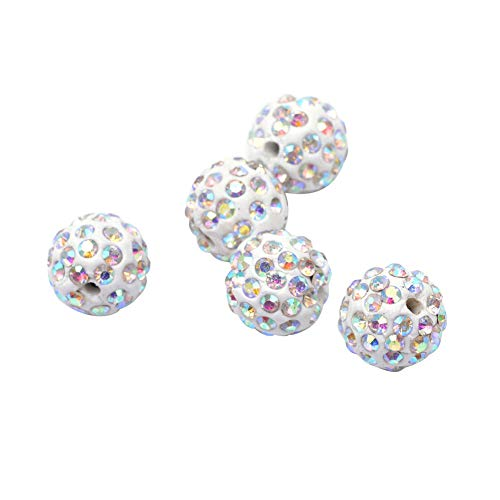 (PH PandaHall About 100 Pcs 12mm Clay Pave Disco Ball Czech Crystal Rhinestone Shamballa Beads Charm Round Spacer Bead for Jewelry Making Crystal AB)