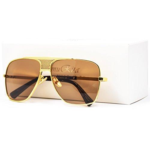 f944e146c SamuRita Metal Celebrity Flat Top Aviator Sunglasses Oversized Designer  Shades(Brown Lens/Gold Frame