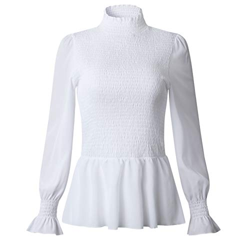 Womens Elegant High Neck Bell Long Sleeve Ruffle Pullover Crop Flare Peplum Tops Blouse White M