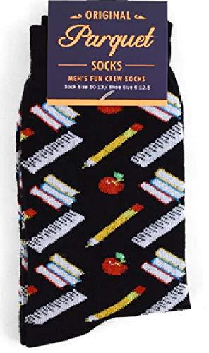 Men's Fun Crew Socks, Sock Size 10-13 / Shoe Size 6-12.5, Great Holiday/Birthday Gift (Teacher Black)