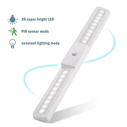 Motion Sensor LED Closet Light, Cabinet Lights Build In Rechargeable Battery Tape Stick-anywhere Wall Light with Magnetic Strip for Kitchen, Bathroom, Hallway, Basement, Garage by XingTY