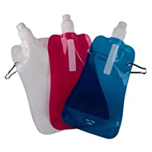 Collapsible Adventure Water Bottle - BPA Free - 3 Pack Bundle (Blue, Pink, and White)