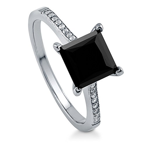 BERRICLE Sterling Silver Princess Cut Black Cubic Zirconia CZ Solitaire Engagement Wedding Ring