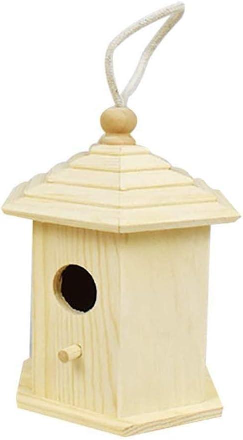 Pajarera Pajarera for jardín Caja clásica de nido de pájaros de pino for tetas azules de carbón Tetas de pantano Gorrión de árbol Aves pequeñas for jardín y ocio 231313cm (Color :