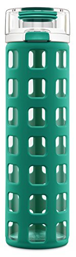 Ello Syndicate 20-Ounce BPA-Free Glass Water Bottle with Flip Lid, Teal