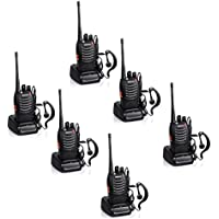 Baofeng BF-888S Rechargeable 3 Miles (5 km) Long Range 5W Two Way Radio Walkie Talkies 16 Channel Handheld Radio Built in LED Torch Microphone With Earpiece(Pack of 6) 6 Pack