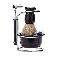Docooler® Shaving Gift Set Razor Shaving Brush, Bowl, Stainess Steel Stand Holder Set