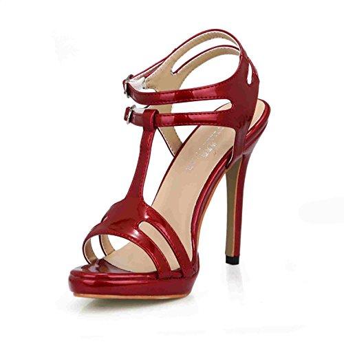 Best 4U® Sandalias de verano de mujer Bombas de cuero de patente Peep toe 12CM Tacones altos Slingbacks Zapatos de goma de la suela de la boda , Red , EU36