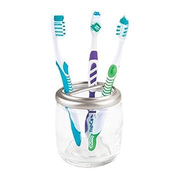 mDesign Portacepillos de dientes –Vaso de cristal para hasta 4 cepillos de dientes – Soporte