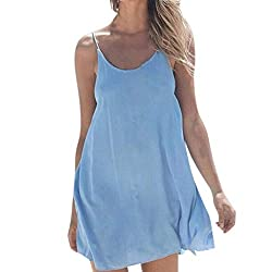 Qiqiu Womens Sexy 2019 Solid Loose Beach Sling O Neck Sleeveless Casual Comfortable Plus Size Mini Dress Blue