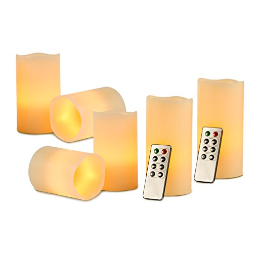 Kohree Flameless Candles Led Candles Lights Remote Control Candles with Timer, Real Wax Pillars Battery Operated (Pack of 6)