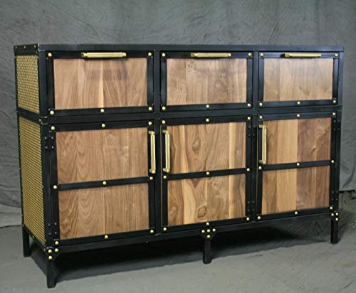 Industrial Sideboard with Brass Accents. Mobile Buffet with Brass Rivets. Handmade Cabinet. Walnut Wood. Custom Media Console/Credenza.
