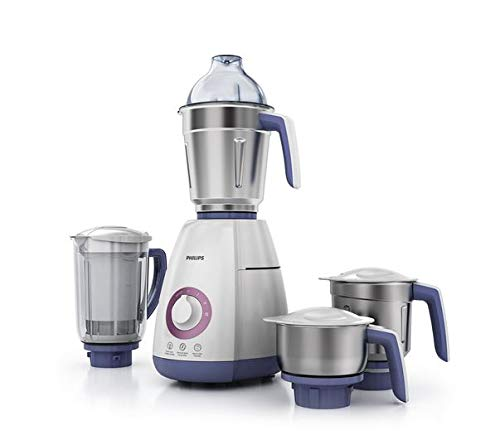 Philips Viva Collection HL7701/00 750-Watt Mixer Grinder with 4 Jars (Elegant Lavender and White)