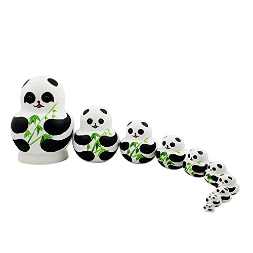 Set of 10 Pieces Panda Bear Wooden Handmade Russian Nesting Dolls Perfet Gift for kids