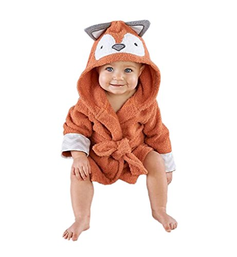 Surenow Children Bathrobe thicken Cute Cartoon Animal Coral Velvet Hooded Towel Bath Robe Warm Spa Robe For 1-6 Years Old