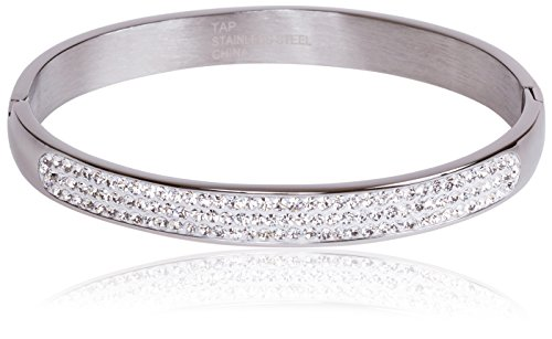 (SilverLuxe Genuine Crystal Hinged Bangle Bracelet - Stainless Steel with Clear Crystal)