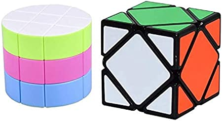 AGAMI Combo of Stickerless 3x3 Barrel and 3x3 Black Skewb Rubiks Cube High Speed Rubix 3D Puzzle Rubic Cube