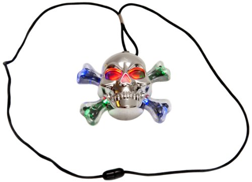 WeGlow International Chrome Skull Necklace, 4 Necklaces - Light Up Pirate Necklace
