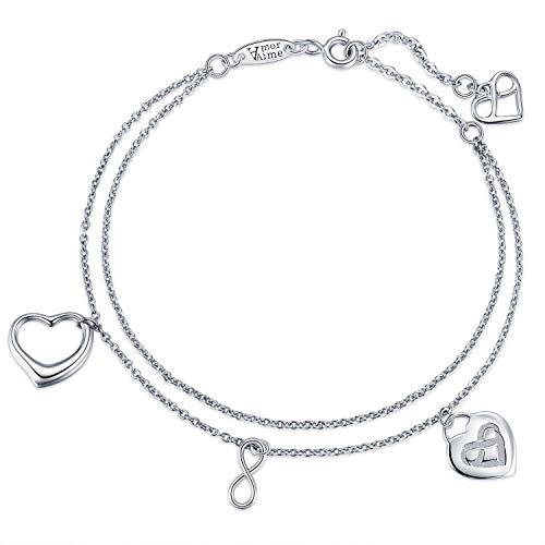 (AmorAime Infinity Heart Love Bracelet-925 Sterling Silver Infinite Symbol Charm and Heart Pendant Womens Double Chains Girls Bracelet Jewelry Gift)