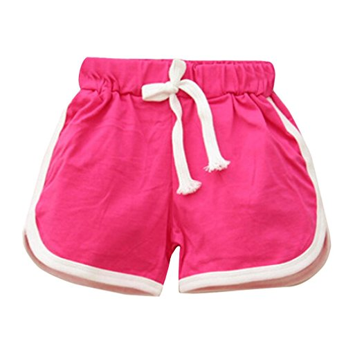 Clearance Toddler Infant Kids Girls Boys Girls Casual Candy Color Sport Cotton Shorts Summer Beach Hot Pants (Hot Pink, 4T (3-4 Years)) ()