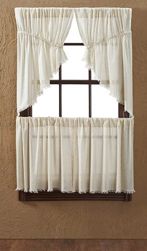 Tobacco Curtain Panel - Nancy's Nook Tobacco Cloth Natural Tier Fringed (set of 2) L24xW36
