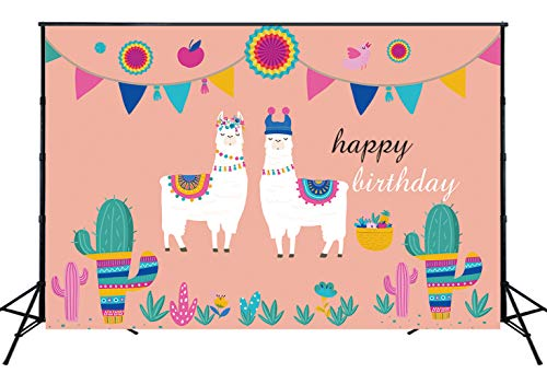 Muzi 7x5ft Summer Fiesta Theme Backdrop Pink Wall Mexican Alpaca Colorful Flags Cactus Paper Flowers Background Happy Birthday Party Decorations for Children Photo Booth Props W-1917