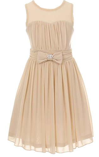 Big Girls' Darling Sweetheart Chiffon Gown Bow Crystal Flowers Girls Dresses Champagne Size 14