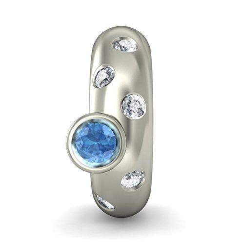14K Or blanc 0,15CT TW White-diamond (IJ | SI) et topaze bleue Boucles d'oreilles créoles