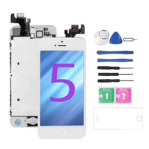 (Drscreen for iphone 5 screen replacement[white] Full Assembly with Home Button and Front Camera, Glass LCD Digitizer Touch Screen for A1428/A1429/A1442 +Repair Tools Kit+ Lifetime Replacement Warranty)