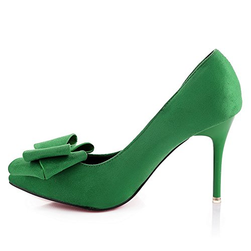 BalaMasa da donna slip-on high-heels Solid Imitated scamosciata pumps-shoes, Verde (Green), 35