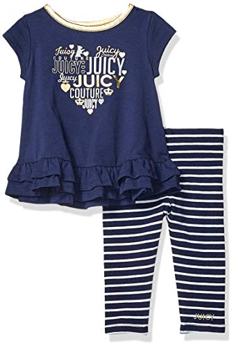 Fifties Dress Up Ideas (Juicy Couture Baby Girls 2 Pieces Legging Set, Navy,)