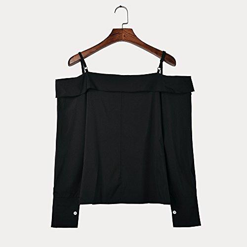 de Hauts Chemisier Chic Chemise Chemise Femme Sangle MVPKK T Nues paules Tops Soie Chemise Mousseline Noir Chemise Longues de Blouse Pull en Manches Hoodie Shirt Chemise Femme cUpWnPqRW