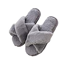 GenePe Winter Shoes Flat Sweet Home Slippers Ladies Indoor Shoes Fur Warm Soft Non-Slip Black Pink Gray Female Slippers
