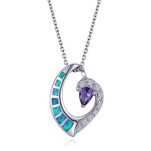 Sterling Silver Heart Wave Pendtant With CZ, Blue Opal and Purple -
