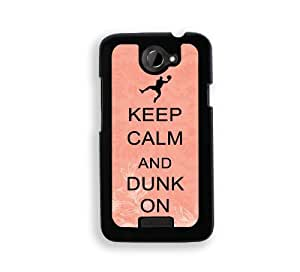 Keep Calm And Dunk On - Coral Floral - Protective Designer BLACK Case - Fits HTC One X / One X+