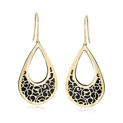 - Ross-Simons Italian Black Onyx and 14kt Yellow Gold Scrollwork Drop Earrings