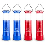 2 in 1 LED Lantern Flashlights 4 Pack with 12 AAA Batteries, 200 Lumens Smallest Lantern, 35 Hours Shining, Pocket Size. Survival Gear for Camping, Emergencies, Hurricane & Outage (Blue & Red)