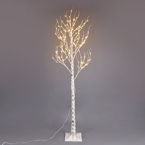 Excelvan Safe 120 LEDs 2.1M/7FT Silver Warm White Xmas Led Birch Twig Lighted Branches Tree for Home Bedroom Patio Garden Gate Yard Party Wedding Christmas Inside Outdoor Decoration