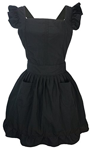 LilMents Petite Maid Ruffle Retro Apron Kitchen Cooking Cleaning Fancy Dress Cosplay Costume (Black) ()