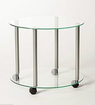 Beistelltisch glas rund rollen  Beistellwagen Beistelltisch Tisch Nachttisch Rund Glas auf Rollen ...