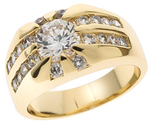 Sujak Jewelry Rising Star Russian Formula CZ's Men's Ring 18K Gold Overlay Size 11